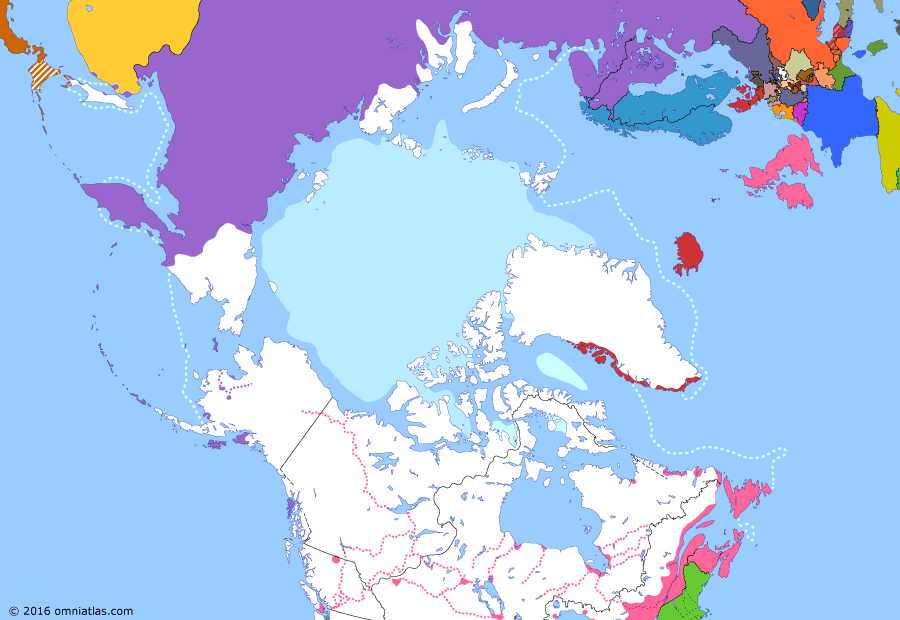 Political map of the Arctic & the Far North on 31 Mar 1854 (Partitioning the North Pacific: Opening of Japan), showing the following events: Queen Charlottes Gold Rush; Colony of the Queen Charlotte Islands; Perry Expedition; Anglo-French entry into Crimean War; Convention of Kanagawa.