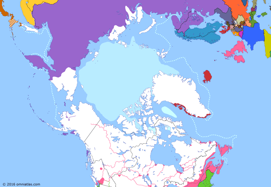 Political map of the Arctic & the Far North on 13 Aug 1859 (Partitioning the North Pacific: Amur Acquisition), showing the following events: Sevastopol falls; Treaty of Paris; Second Opium War; Fraser Canyon Gold Rush; Treaty of Aigun; Colony of British Columbia; Pig War; North-Western Territory.