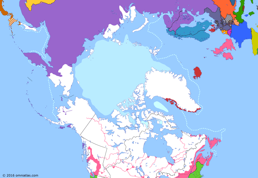 Political map of the Arctic & the Far North on 30 Mar 1867 (Partitioning the North Pacific: Alaska Purchase), showing the following events: Dissolution of Queen Charlotte Is.; Johnson's May 9 Declaration; Austro-Prussian War; United British Columbia colonies; Alaska Purchase.