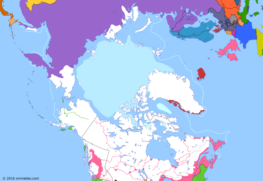 Political map of the Arctic & the Far North on 15 Jul 1870 (Partitioning the North Pacific: Rupert's Land Act), showing the following events: Fort Whoop-Up; Annexation of Hokkaido; Red River Rebellion; Manitoba Act; Rupert's Land Act takes effect.
