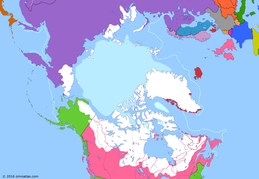 Political map of the Arctic & the Far North on 07 Jun 1905 (Claiming the Far North: Norwegian Independence), showing the following events: Nome Gold Rush; Labrador boundary dispute; Gjøa Expedition; Hay-Herbert Treaty; Battle of Port Arthur; Free Japanese Brigade; Norwegian independence.