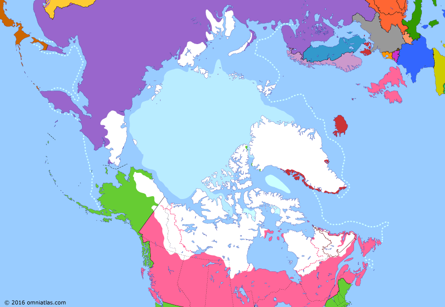 Political map of the Arctic & the Far North on 06 Apr 1909 (Claiming the Far North: Race to the North Pole), showing the following events: Invasion of Sakhalin; Raid on Petropavlovsk; Provinces of Alberta and Saskatchewan; Treaty of Portsmouth; Dominion of Newfoundland; Direct rule in Greenland; Peary's Polar Expedition.