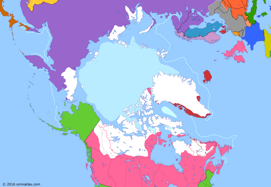 Political map of the Arctic & the Far North on 06 Apr 1917 (Claiming the Far North: Great War and the Arctic), showing the following events: Discovery of Severnaya Zemlya; Outbreak of World War I; Treaty of the Danish West Indies; Russian Arctic claim; Danish claim to Greenland; February Revolution; US declaration of war on Germany.