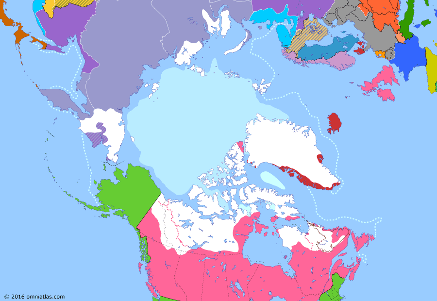 Political map of the Arctic & the Far North on 21 Aug 1918 (Claiming the Far North: Allied Intervention in Russia), showing the following events: October Revolution; Treaty of Brest-Litovsk; Murmansk landing; Revolt of the Czechoslovak Legion; Archangel landing; Vladivostok landing.