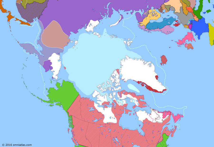 Political map of the Arctic & the Far North on 31 Oct 1921 (Claiming the Far North: Wrangel Island Fiasco), showing the following events: Occupation of northern Sakhalin; Restoration of Kamchatka; Norwegian station on Jan Mayen; Okhotsk coast and eastern Yakutia revolt, reinforced by White general Bochkaryov; Yakut revolt breaks out; Wrangel Island fiasco.