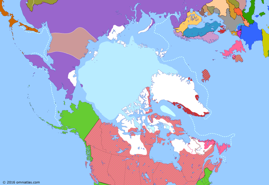 Political map of the Arctic & the Far North on 20 Jan 1925 (Claiming the Far North: Soviet-Japanese Peace Treaty), showing the following events: Japanese troops withdraw from Vladivostok.; Soviet Russia annexes Far Eastern Republic.; Treaty on the Creation of the USSR; Halibut Treaty; Soviet forces defeat Bochkaryov north of the Gulf of Okhotsk; Wells settlement on Wrangel Island; Yakut-Tungus revolt leads to creation of All-Tungus Congress of Okhotsk Coast; Soviet arrival in Wrangel Island; Soviet-Japanese Peace Treaty.