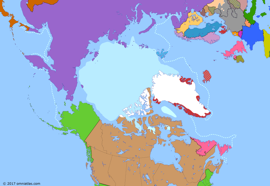 Political map of the Arctic & the Far North on 10 Sep 1939 (World War II in the Arctic: Outbreak of World War II), showing the following events: Chancellor Adolf Hitler; International Ruling on Greenland; Newfoundland Act; Marco Polo Bridge Incident; Molotov–Ribbentrop Pact; Germany invasion of Poland; Declaration of War on Germany; Declaration of war by Canada.