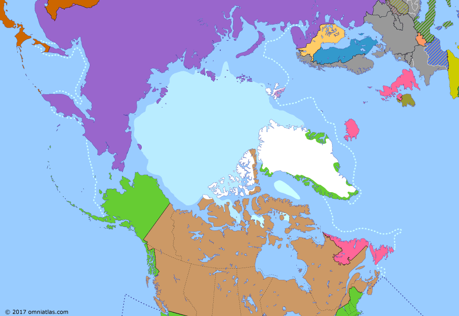 Political map of the Arctic & the Far North 9 April 1941 (Greenland Protectorate): Concerned about the possibility of a British/Canadian invasion of Greenland, the United States and the Greenlandic government quickly established diplomatic relations after the fall of Denmark (German invasion of Denmark (1940)). However when, in June 1940, the Germans conquered France (Battle of France), the US began moving to support the British war effort (Lend-Lease). The strategic importance of Greenland grew with this trans-Atlantic partnership and in 1941 the island agreed to US military protection (Greenland in World War II).