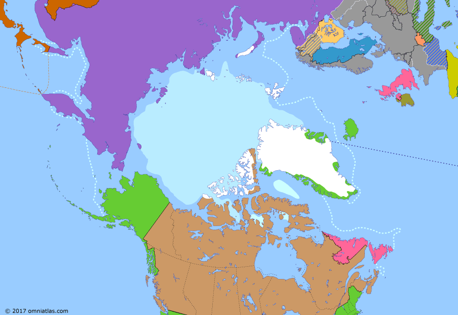 Political map of the Arctic & the Far North on 03 Sep 1941 (World War II in the Arctic: Operation Silver Fox), showing the following events: Pan-American Security Zone extension; Soviet-Japanese Neutrality Pact; Sinking the Bismarck; Operation Barbarossa; Continuation War begins; Operation Silver Fox; US occupation of Iceland; Atlantic Charter; Operation Gauntlet.
