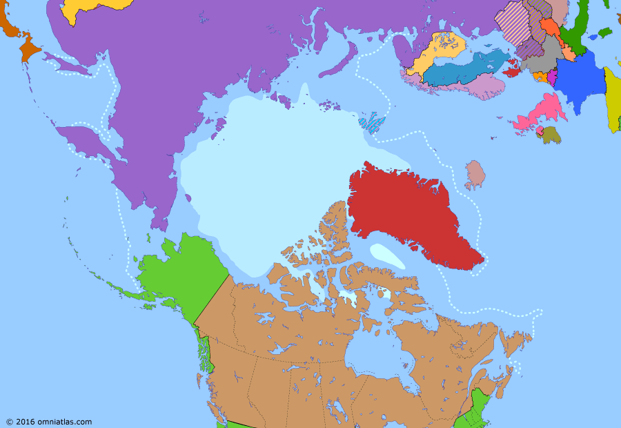 Political map of the Arctic & the Far North on 17 Aug 1977 (The Arctic Transformed: Nuclear Standoff), showing the following events: RDS-1; Greenland Treaty in effect; High Arctic relocation; Warsaw Pact; Operation Sunshine; State of Alaska; Greenland joins EC; Arktika reaches North Pole.