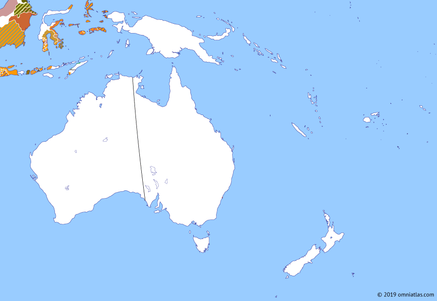 Political map of Australia, New Zealand & the Southwest Pacific on 26 Jan 1788 (The Australasian Colonies: First Fleet), showing the following events: American Revolutionary War; First Fleet; Loss of La Pérouse; Landing of the First Fleet.