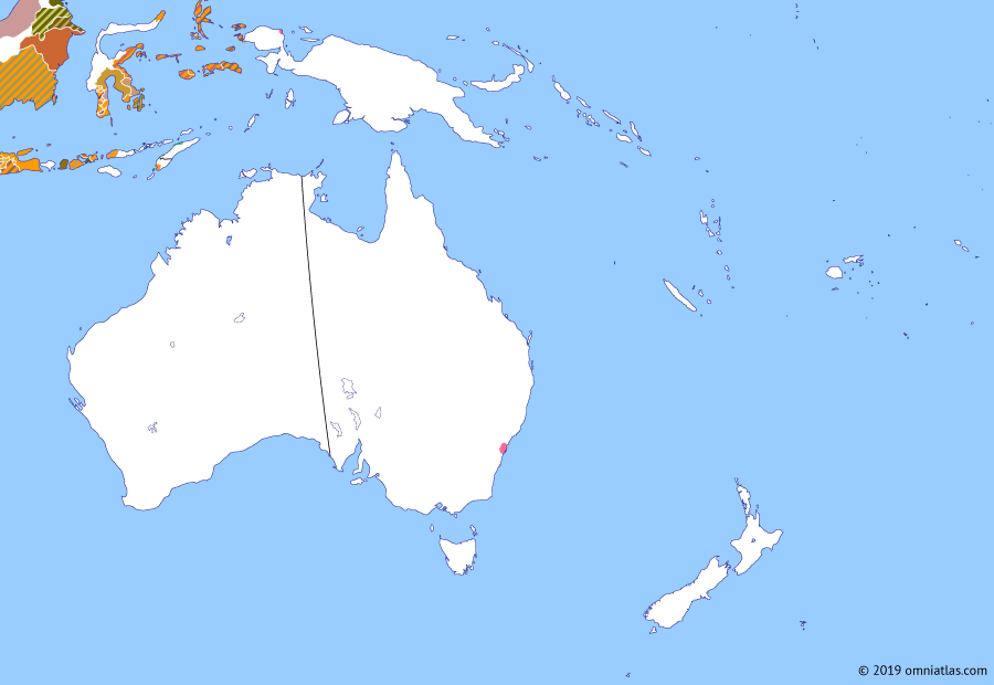 Political map of Australia, New Zealand & the Southwest Pacific on 07 Feb 1794 (The Australasian Colonies: Australasia and the French Revolution), showing the following events: French Revolution; Spearing of Governor Phillip; Pemulwuy's War; Mary Bryant's escape; D'Entrecasteaux Expedition; Fort Coronation.