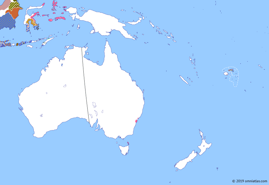 Political map of Australia, New Zealand & the Southwest Pacific on 23 Jul 1801 (The Australasian Colonies: Napoleonic France in Australasia), showing the following events: Fall of the Dutch Republic; British occupation of Ambon; Circumnavigation of Tasmania; Baudin expedition; Dissolution of VOC.