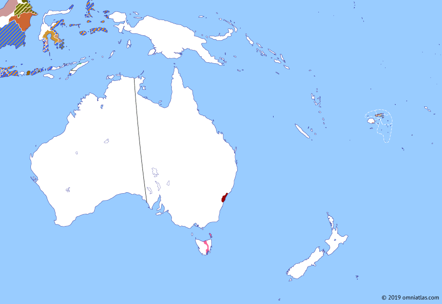 Political map of Australia, New Zealand & the Southwest Pacific on 26 Jan 1808 (The Australasian Colonies: Rum Rebellion), showing the following events: Castle Hill convict rebellion; Java campaign; Rum Rebellion.
