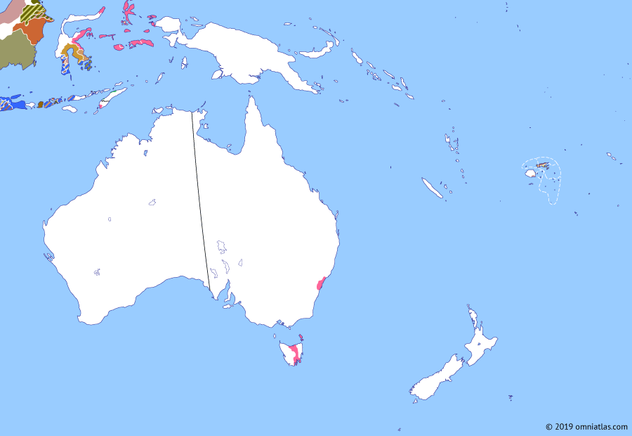 Political map of Australia, New Zealand & the Southwest Pacific on 18 Feb 1811 (The Australasian Colonies: Interregnum in the Dutch East Indies), showing the following events: Burning of the Boyd; British conquest of Moluccas; Annexation of Holland; Indes-Orientales.
