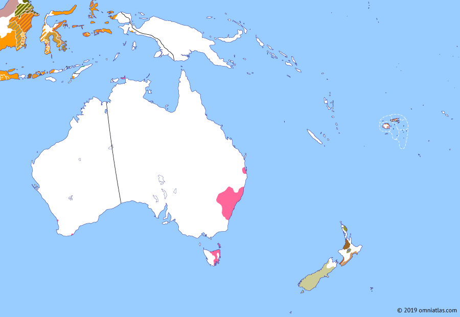 Political map of Australia, New Zealand & the Southwest Pacific on 18 Jun 1829 (The Australasian Colonies: Swan River Colony), showing the following events: Diponegoro War; First NZ Company expedition; King George Sound settlement; Wounding of Hongi Hika; Dutch claim to New Guinea; Swan River colony.