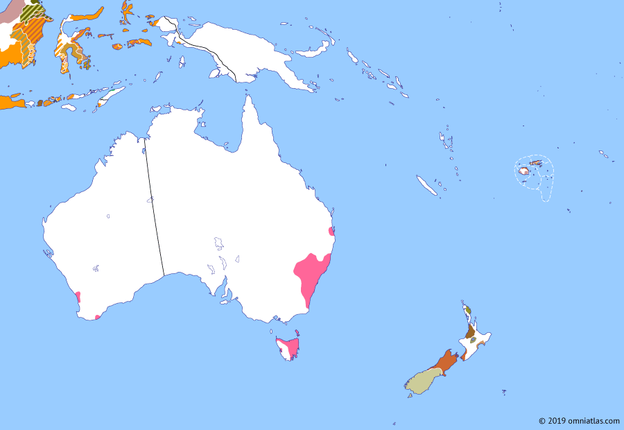 Political map of Australia, New Zealand & the Southwest Pacific on 01 Jun 1832 (The Australasian Colonies: Musket Wars), showing the following events: Invasion of Te Waipounamu; Removal of Tasmanian Aborigines; Reunification of Tonga.