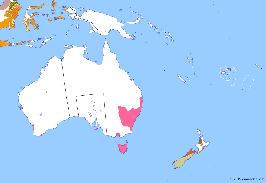 Political map of Australia, New Zealand & the Southwest Pacific on 28 Dec 1836 (The Australasian Colonies: Province of South Australia), showing the following events: Kāi Tahu reconquest; Settlement of Lord Howe Island; Pinjarra massacre; Foundation of Melbourne; Sovereign Chief of New Zealand; United Tribes of New Zealand; Conquest of the Chatham Islands; Province of South Australia.