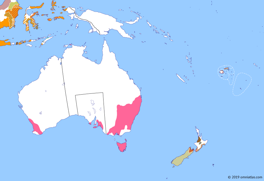 Political map of Australia, New Zealand & the Southwest Pacific on 16 Nov 1840 (The Australasian Colonies: Colony of New Zealand), showing the following events: Hobson's Proclamation; Settlement of Akaroa; Founding of Auckland; Colony of New Zealand.