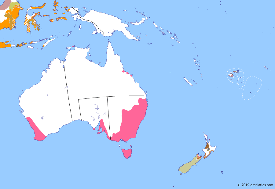 Political map of Australia, New Zealand & the Southwest Pacific on 17 Feb 1846 (The Australasian Colonies: Colony of North Australia), showing the following events: Maungahuka; Annexation of Chatham Islands; Bau-Rewa War begins; Wairau Affray; Flagstaff War; Leichhardt's Overland Expedition; Colony of North Australia.