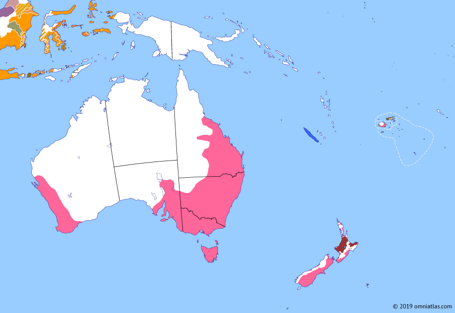 Political map of Australia, New Zealand & the Southwest Pacific on 12 Mar 1862 (Colonial Consolidation: Crossing the Outback), showing the following events: First Taranaki War; Burke and Wills Expedition; Battle of Fort Sumter; Otago Gold Rush; South Australian boundary change; Cullin-la-ringo massacre; Stuart's sixth expedition.