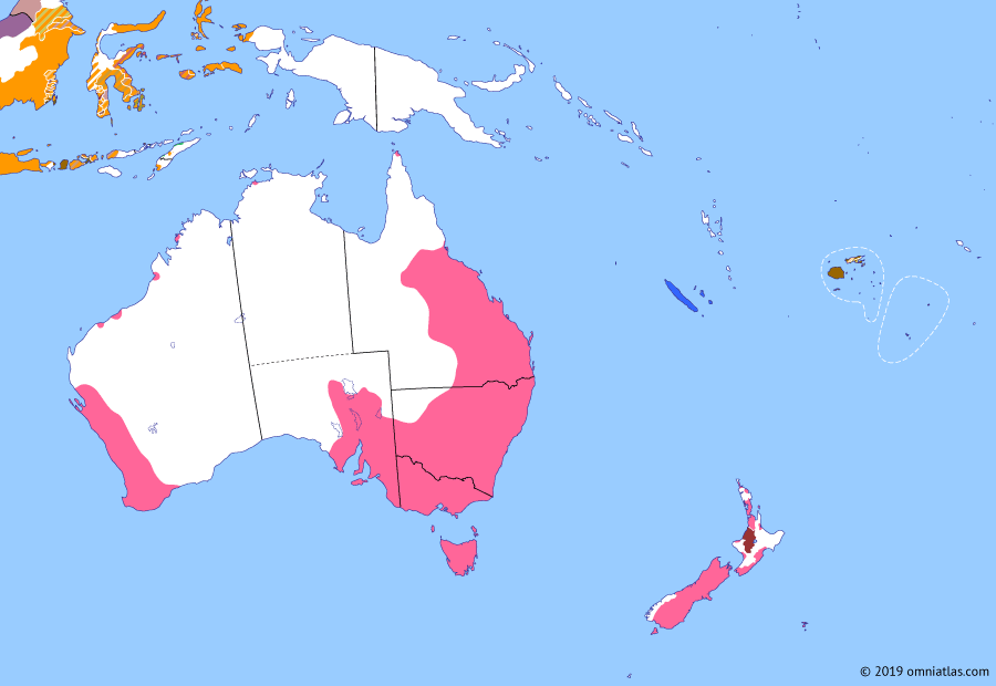 Political map of Australia, New Zealand & the Southwest Pacific on 08 May 1865 (Colonial Consolidation: Fijian Confederacy), showing the following events: Raupatu; La Grange expedition; East Cape War; Surrender of Robert E Lee; Fijian Confederacy.