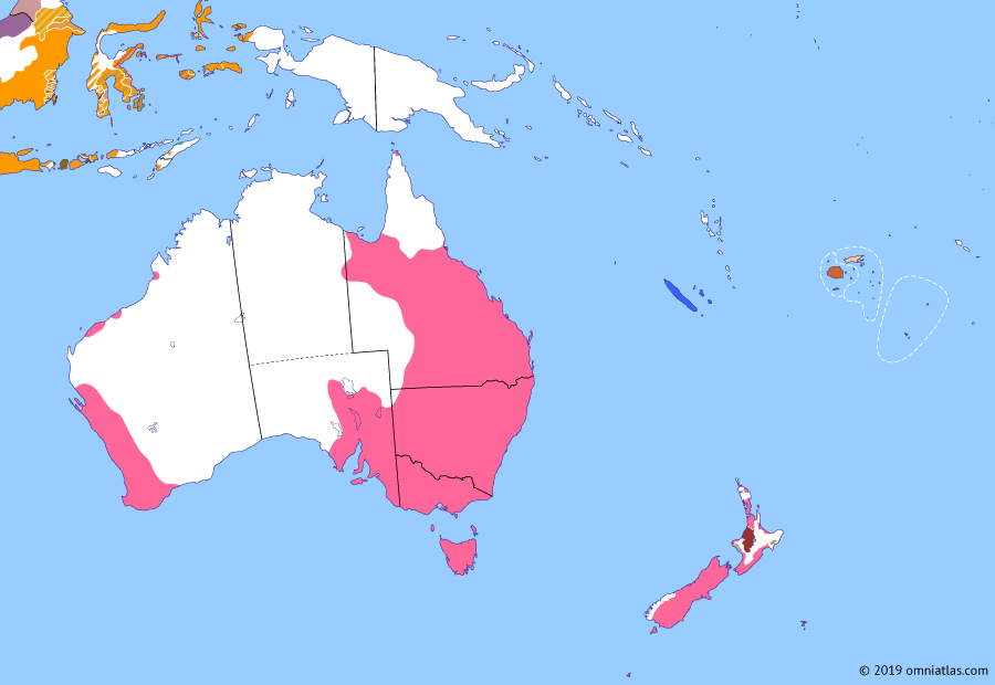 Political map of Australia, New Zealand & the Southwest Pacific on 10 Nov 1868 (Colonial Consolidation: 'Hauhau' Wars), showing the following events: Wellington parliament; Lau Confederation; Kingdom of Bau; Coromandel Gold Rush; End of convict era in Western Australia; Tītokowaru's War; Te Kooti's War.