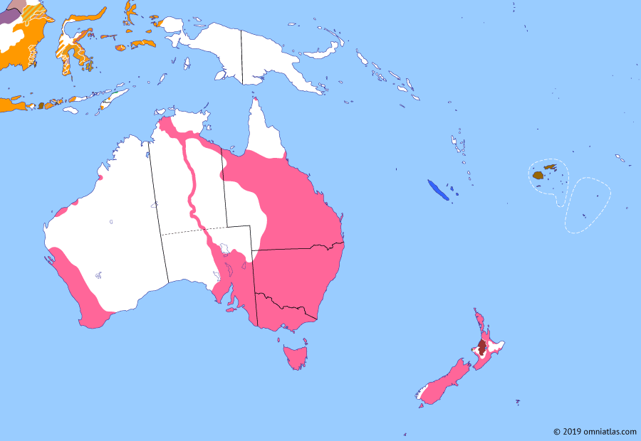 Political map of Australia, New Zealand & the Southwest Pacific on 22 Aug 1872 (Colonial Consolidation: Australian Overland Telegraph Line), showing the following events: Founding of Darwin; Franco-Prussian War; Australian Overland Telegraph Line; Kingdom of Fiji.