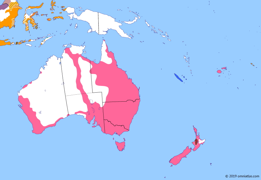 Political map of Australia, New Zealand & the Southwest Pacific on 13 Aug 1877 (Colonial Consolidation: British Western Pacific Territories), showing the following events: Kingdom of Samoa; Barrow Creek attack; Colony of Fiji; Australian East-West Telegraph; Kingdom of Tonga; Little War in Fiji; Te Ao Mārama; British Western Pacific Territories.