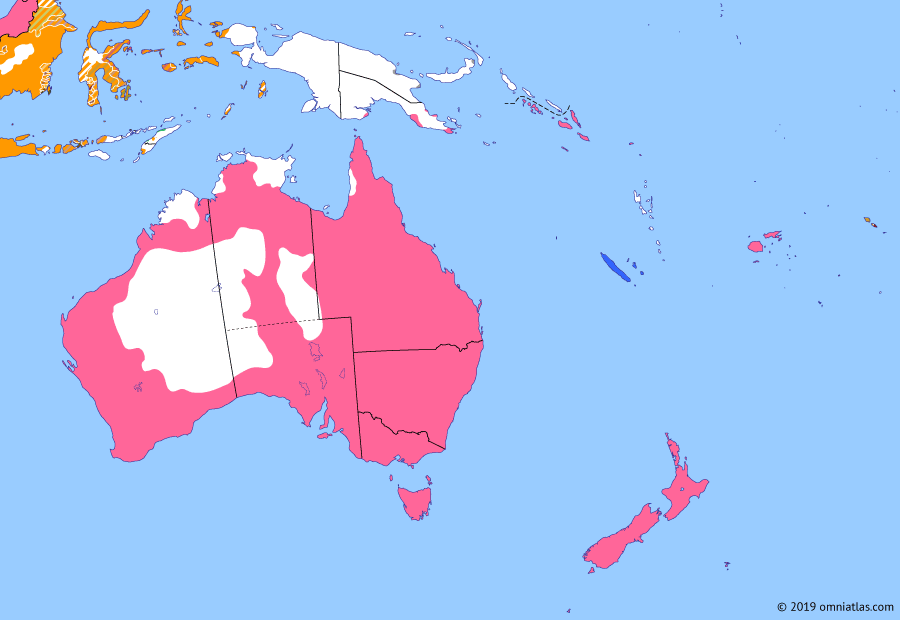 Political map of Australia, New Zealand & the Southwest Pacific on 14 Mar 1899 (Colonial Consolidation: Second Samoan Civil War), showing the following events: Jandamarra's insurrection; Spanish-American War; Dog Tax War; Annexation of Hawaii; Second Samoan Civil War.