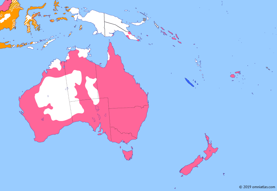Political map of Australia, New Zealand & the Southwest Pacific on 01 Jan 1901 (Southern Dominions: Federation of Australia), showing the following events: Australasia in the 2nd Boer War; Tripartite Convention; Anglo-Tongan Treaty of Friendship; Federation of Australia.
