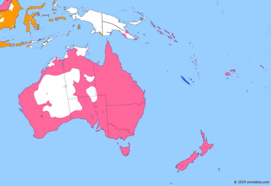 Political map of Australia, New Zealand & the Southwest Pacific on 27 Sep 1906 (Southern Dominions: Consolidation of the Dutch East Indies), showing the following events: Anglo-Japanese Alliance; Dutch settle New Guinea frontier; South Celebes Expedition; Papua Act 1905; Bali Expedition.