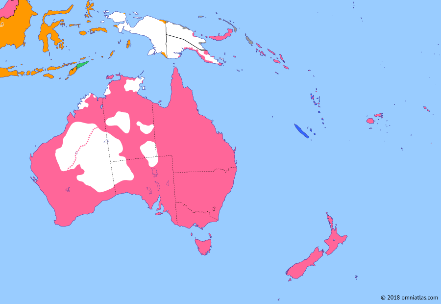 Political map of Australia, New Zealand & the Southwest Pacific on 24 Sep 1914 (Southern Dominions: Conquest of the German Pacific), showing the following events: Occupation of German Samoa; Australians occupation of Nauru; Occupation of German New Guinea; Australian and New Zealand expeditionary forces.