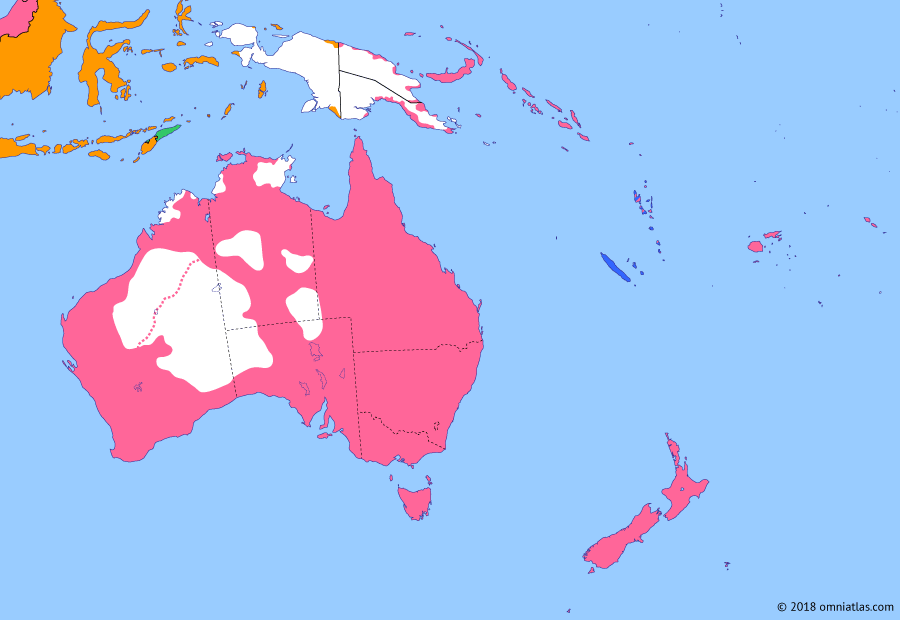 Political map of Australia, New Zealand & the Southwest Pacific on 29 Jun 1919 (Southern Dominions: Treaty of Versailles), showing the following events: Japan occupies Caroline Islands; ANZACs at Gallipoli; US declaration of war on Germany; October Revolution; Spanish Flu in Australasia; Armistice of Compiègne; Darwin Rebellion; Dominion representation at Versailles.