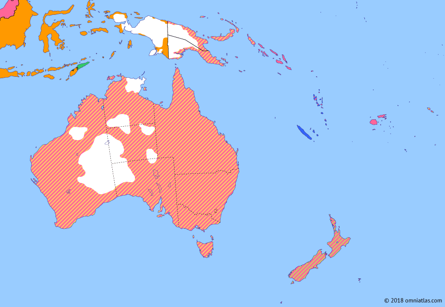 Political map of Australia, New Zealand & the Southwest Pacific on 18 Oct 1928 (Southern Dominions: League of Nations Mandates), showing the following events: New Guinea Mandate; Mandate of Nauru; Mandate of Western Samoa; South Pacific Mandate; 1923 Imperial Conference; North Australia and Central Australia; Mau movement; Coniston massacre.
