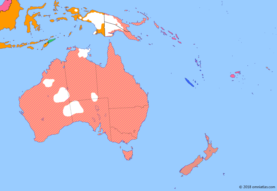 Political map of Australia, New Zealand & the Southwest Pacific on 31 Dec 1936 (Southern Dominions: Exploration of the New Guinea Highlands), showing the following events: Independence of Manchukuo; Caledon Bay crisis; Western Australian secession referendum; Mount Hagen patrol post.