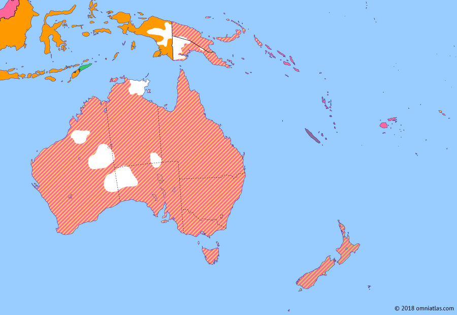 Political map of Australia, New Zealand & the Southwest Pacific on 08 Dec 1941 (The War in the Pacific: Attack on Pearl Harbor), showing the following events: Free French New Caledonia; Japanese invasion of French Indochina; Tripartite Pact; Operation Barbarossa; Sinking of HMAS Sydney; Attack on Pearl Harbor.