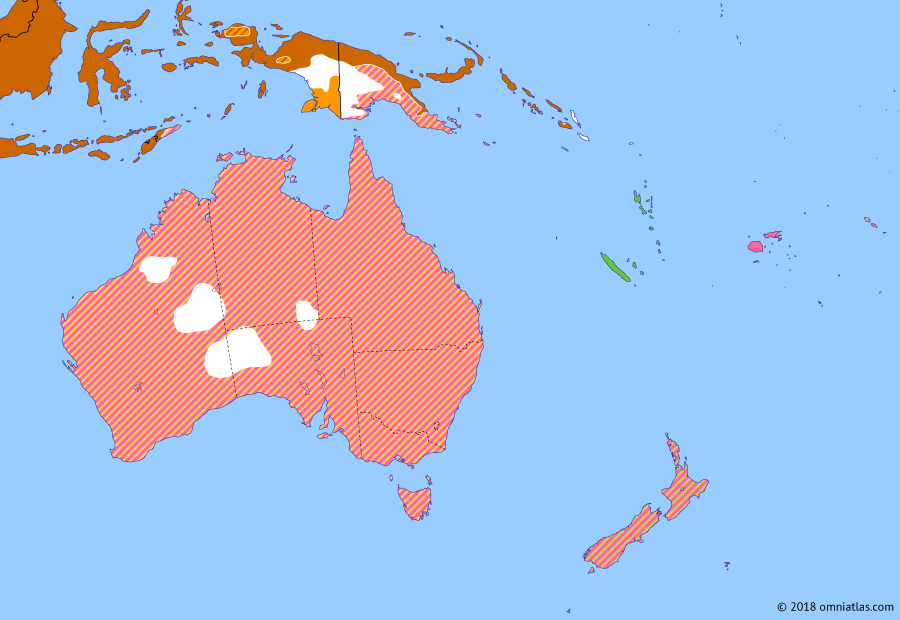 Political map of Australia, New Zealand & the Southwest Pacific on 06 Sep 1942 (The War in the Pacific: Kokoda Trail), showing the following events: Attack on Sydney Harbour; Battle of Midway; Henderson Field; Kokoda Trail campaign; Guadalcanal Landings; Japanese offensives in Guadalcanal; Battle of the Eastern Solomons.