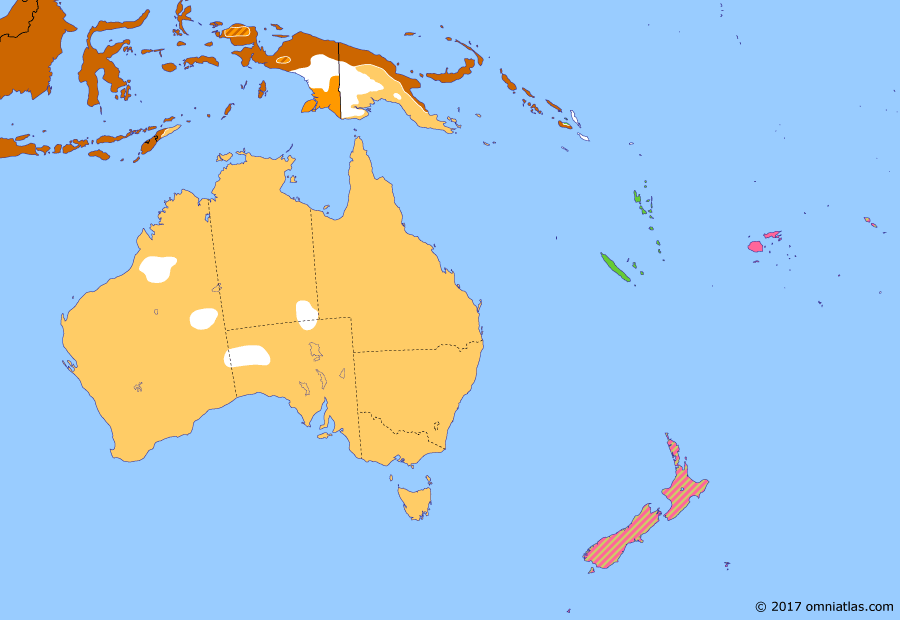 Political map of Australia, New Zealand & the Southwest Pacific on 15 Nov 1942 (The War in the Pacific: Guadalcanal Campaign), showing the following events: Statute of Westminster Adoption Act; Second Battle of El Alamein; Battle of Santa Cruz Islands; Naval Battle of Guadalcanal.