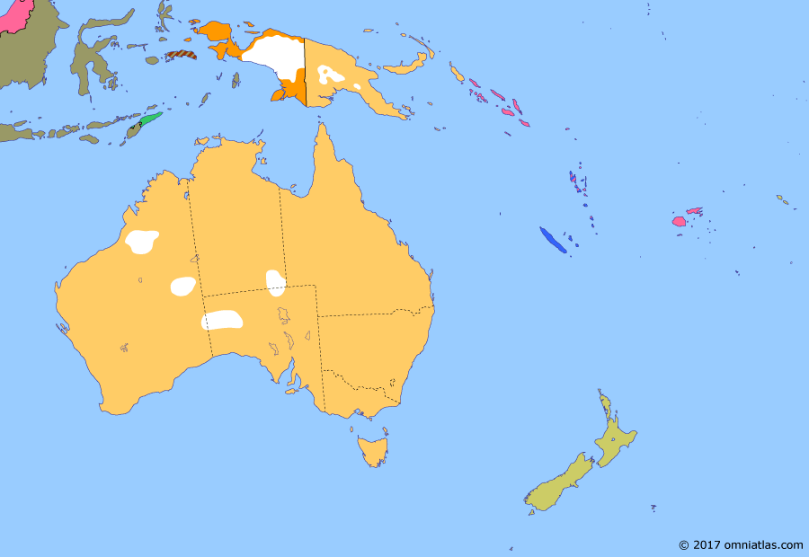 Political map of Australia, New Zealand & the Southwest Pacific on 01 Sep 1951 (Decolonization of the Pacific: ANZUS), showing the following events: Korean War; Dissolution of the United States of Indonesia; End of the Republic of South Maluku; ANZUS Treaty.