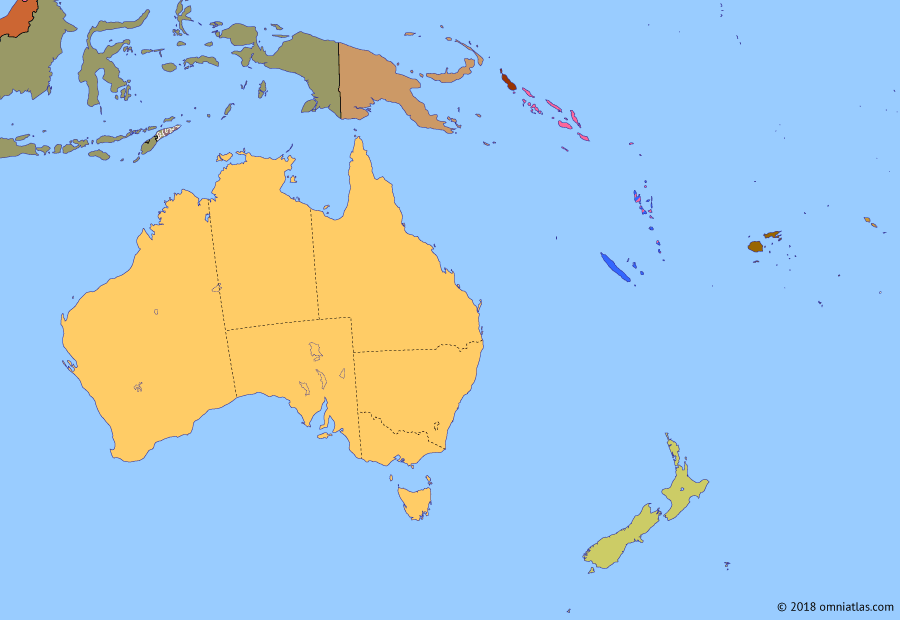 Political map of Australia, New Zealand & the Southwest Pacific on 13 Jan 1976 (Decolonization of the Pacific: Indonesian invasion of East Timor), showing the following events: Carnation Revolution; Republic of the North Solomons; Independence of Papua New Guinea; End of Portuguese rule in Timor; Indonesian invasion of East Timor.