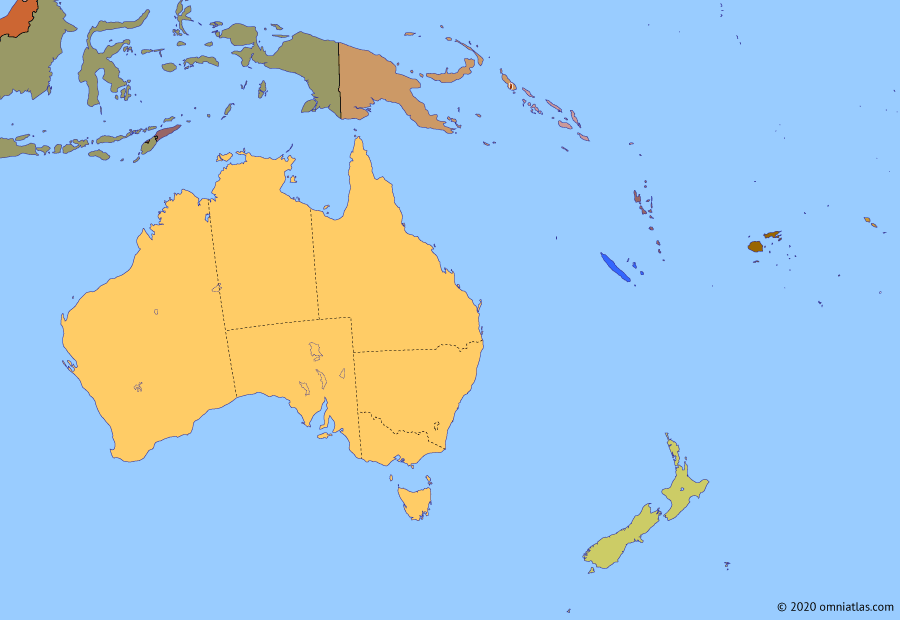 Political map of Australia, New Zealand & the Southwest Pacific on 15 Jan 2020 (Decolonization of the Pacific: Australasia Today), showing the following events: Kingdom of Me´ekamui; 2006 Fijian Coup; Subprime mortgage crisis; 2011 Christchurch earthquake; Christchurch mosque shootings; 2019–20 Australian bushfires; Bougainvillean independence referendum.