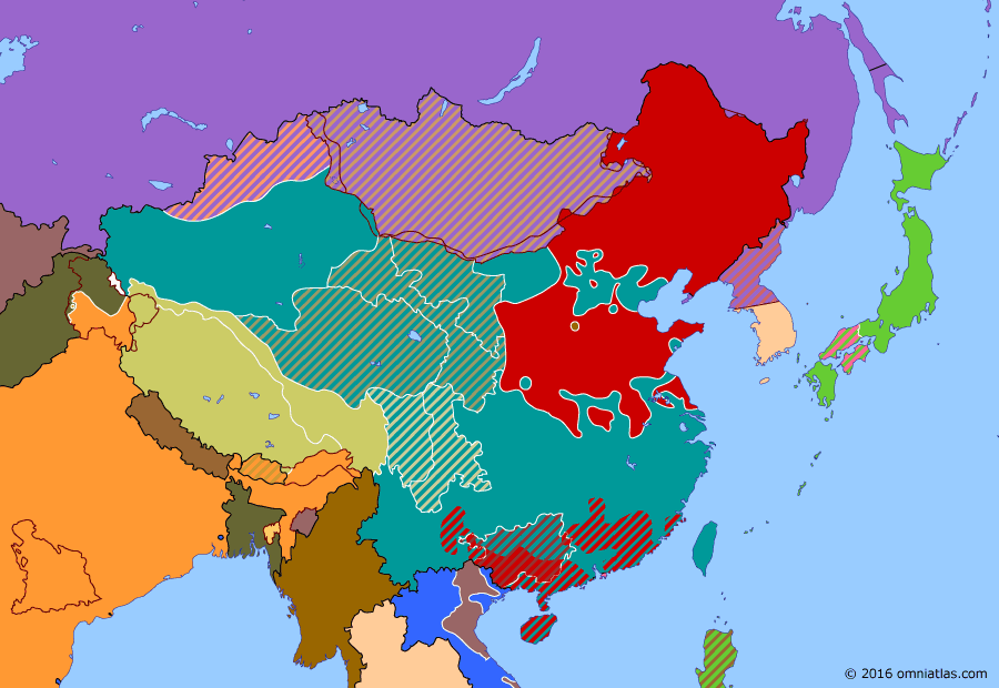 Political map of China, Japan, Korea, and Mongolia on 06 Nov 1948 (The Chinese Civil War: Huaihai Campaign), showing the following events: Independence of Burma; First Republic of South Korea; Democratic People's Republic of Korea; Liaoshen Campaign; Huaihai Campaign.