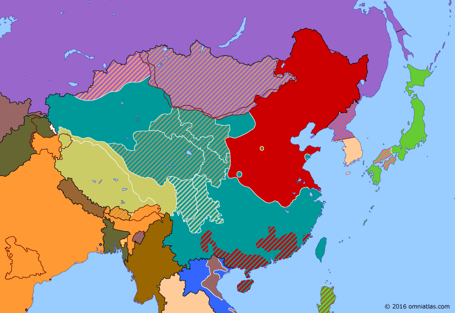 Political map of China, Japan, Korea, and Mongolia on 31 Jan 1949 (The Chinese Civil War: Communist Victory in North China), showing the following events: Pingjin Campaign; Ceasefire in Kashmir; Resignation of Chiang Kaishek.
