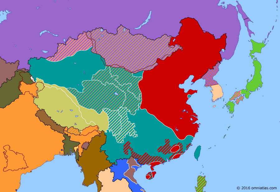 Political map of China, Japan, Korea, and Mongolia 1 June 1949 (Crossing the Yangtze): Peace negotiations broke down in April and the Communists (Communist Party of China) resumed their advance. On the 20th, they crossed the Yangtze River (Yangtze River). Nanjing (Nanjing) fell on the 24th, just as the Nationalists (History of the Republic of China) evacuated their government to Canton (Guangzhou).