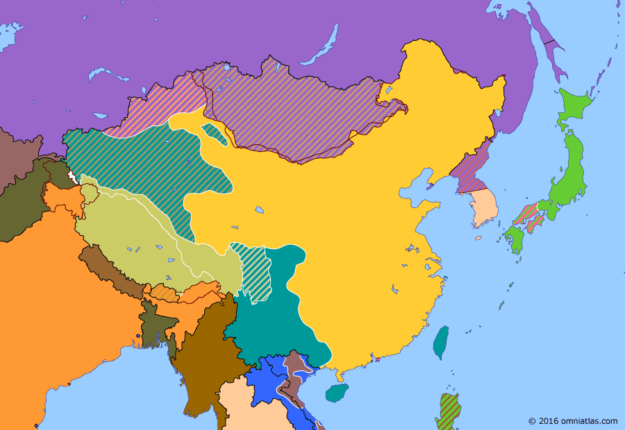 Political map of China, Japan, Korea, and Mongolia 8 December 1949 (Nationalist Taiwan): With the Communists victorious across China, about 2 million Nationalist Chinese (Nationalist China) fled to the offshore island of Taiwan (Taiwan). On December 8, Chiang Kaishek (Chiang Kaishek) made the Taiwanese city of Taipei (Taipei) the temporary capital of the Republic of China (Republic of China) but refused to give up his claim on the mainland.