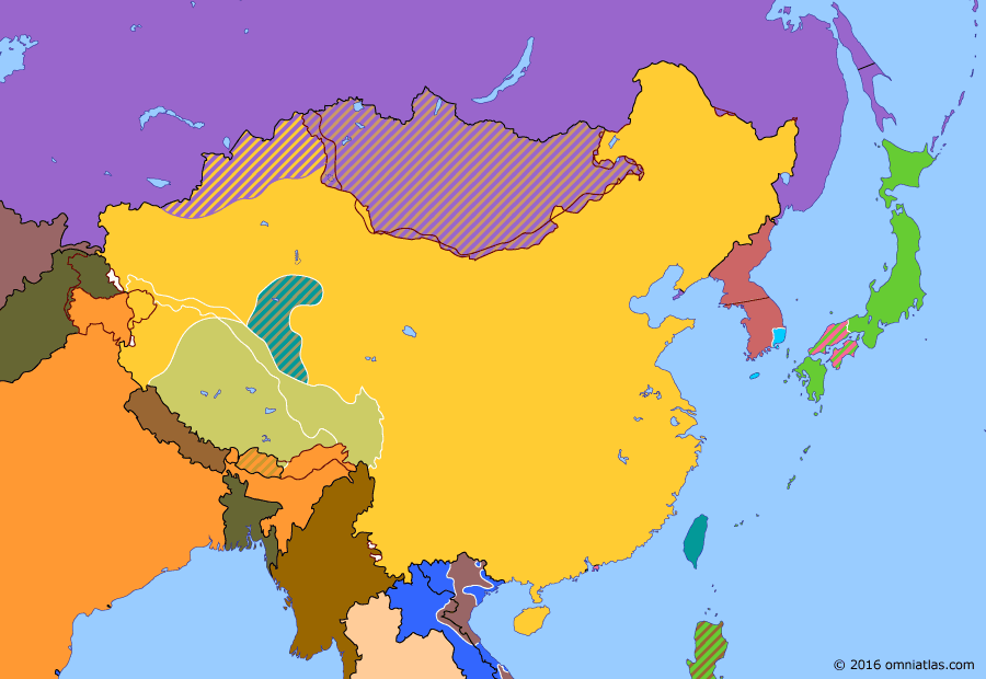 Political map of China, Japan, Korea, and Mongolia on 14 Sep 1950 (China under Mao: Korean War), showing the following events: Chengdu Campaign; End of East Turkestan Republic; Hainan Landing Operation; UNSC Resolution 82; Outbreak of Korean War; U.N.S.C. Resolution 84; Battle of Pusan Perimeter.
