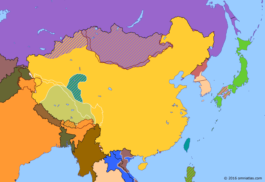 Political map of China, Japan, Korea, and Mongolia on 19 Oct 1950 (China under Mao: Battle of Chamdo), showing the following events: UN Offensive in Korea; Inchon Landing; Battle of Chamdo.