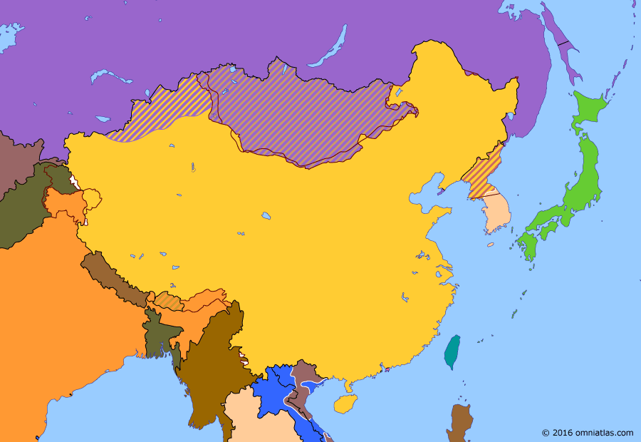Political map of China, Japan, Korea, and Mongolia on 09 Sep 1951 (China under Mao: Chinese occupation of Tibet), showing the following events: 1951 U.N. Counteroffensives; 17 Point Agreement on Tibet; Kaesong Negotiations; Occupation of Tibet.