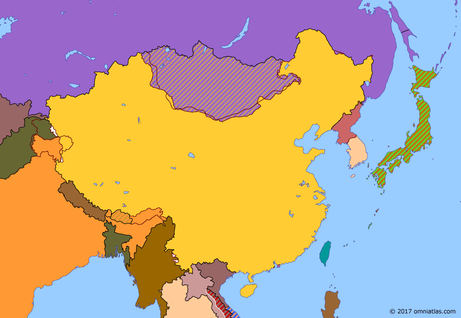 Political map of China, Japan, Korea, and Mongolia on 11 Oct 1955 (China under Mao: End of Soviet Influence in China), showing the following events: End of occupation of Japan; Korean Armistice Agreement; Battle of Dien Bien Phu; Partition of Vietnam; Return of Dairen.
